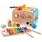 Yikky Wooden Xylophone Percussion Instrument Toy for Age 1 Year Old Baby Toddler Boy Girl Gift to Learning Hammering & Pounding, 3 in 1 Wooden Activity Center Shape Color Blocks Cube Toy