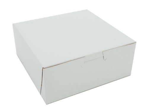 Southern Champion Tray 0901 Premium Clay Coated Kraft Paperboard White Non-Window Lock Corner Bakery Box, 6'' Length x 6'' Width x 2-1/2 Height (Case of 250) by Southern Champion Tray