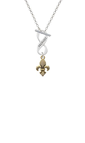 Goldtone Fleur de Lis Friends Infinity Toggle Chain Necklace ()
