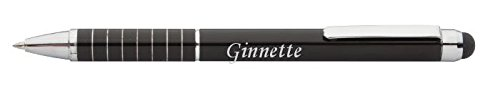 Personalized touch screen pen (stylus) with text: Ginnette (first name/surname/nickname)