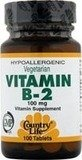 Country Life - La vitamine B-2 100 mg. - 100 Comprimés