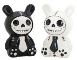Furrybones Black and White Bunny Bun Bun Ceramic Salt N Pepper Shaker