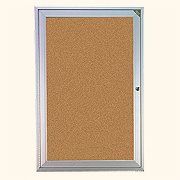 1 Door Enclosed Vinyl Bulletin Board Size: 24'' x 18'', Frame: Satin Aluminum, Backing: Standard by Ghent