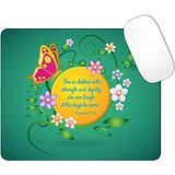 Proverbs 31:25 Bible Verse Dark Green Back Yellow Circle Butterfly Floral Flowers Mouse Pad (SQUARE)