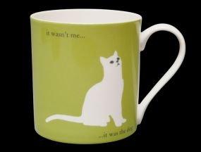 (Silhouette Green Large Sitting Cat Funny Bone China Mug, It Was the Dog - Stoke on Trent, England)