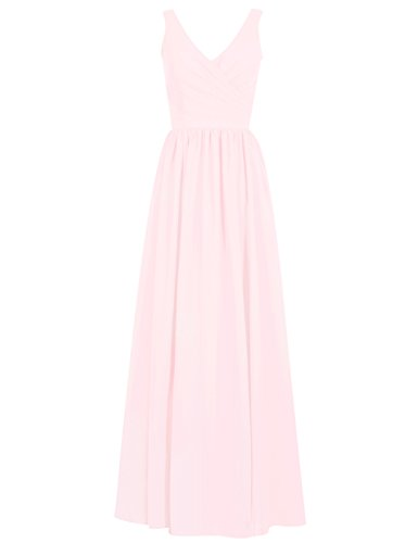 (Long Bridesmaid Dresses Chiffon Evening Formal Gowns Wedding Party Prom Dress V-Neck Sleeveless US 8 Pink)