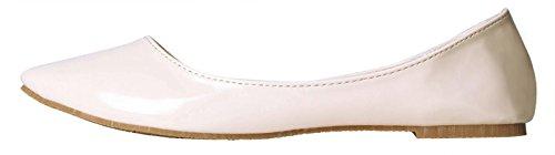 WENN FÜHLEN Women's Pointy Toe Weiche Festkörper Ballett Flache Schuhe Nackt