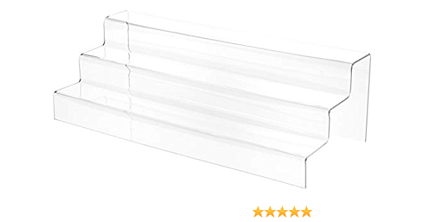 """Plymor Clear Acrylic 3-Step Solid Back Display Stairs 5.5/"""" H x 18/"""" W x 8/"""" D"""