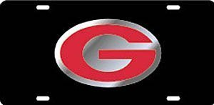 Georgia Bulldogs Black Car Tag W/silver/red Logo G
