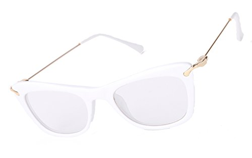 Beison Womens Cat Eye Glasses Frame With Metal Arms Clear Lens (White, - White Eyeglasses