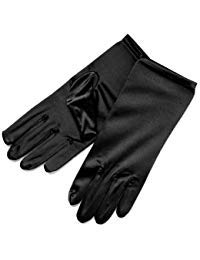 ZaZa Bridal Shiny Stretch Satin Dress Gloves Wrist Length 2BL-Black