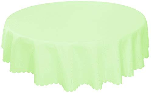 "EcoSol Designs Microfiber Damask Swirls Tablecloth, Wrinkle-Free & Stain Resistant (60"" Diameter Round, Light Green) Swirls"