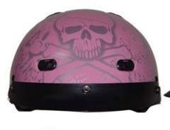 DOT VENTED PINK BONEYARD LADIES MOTORCYCLE HALF/BEANIE HELMET-XL ()
