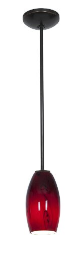 Merlot Glass Pendant - Rods - Fluorescent - Oil Rubbed Bronze Finish - Red Sky Glass Shade