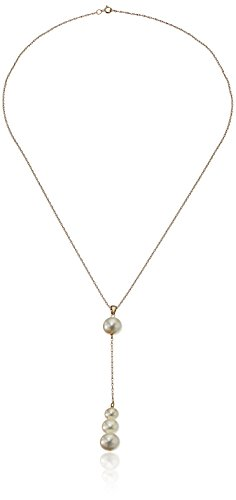 14k Yellow Gold Chain with Graduated 6-9mm White Freshwater Cultured Pearl Y-Shaped Necklace, 18'' by Amazon Collection