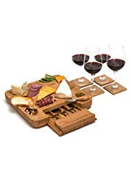 Bamboo Cheese Board Set with Cutlery and Wine Coasters (9-Piece Set) Serve Meat, Cheeses, Crackers | 4 Stainless-Steel Cutting & Serving Knives | Slide-Out Drawer | by Bali Home Goods