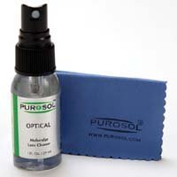 Purosol Multi Purpose Optical Cleaner 1.0 Oz with Purosol Microfiber Cleaning Cloth, Small Size