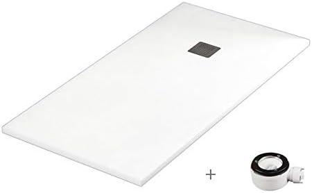 Plato ducha resina antideslizante textura pizarra Smooth Bricodomo 70x130 Blanco: Amazon.es: Bricolaje y herramientas
