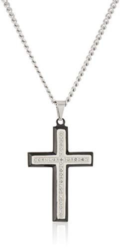 - SPARTAN Men's Cross in Stainless Steel (White-Diamond)