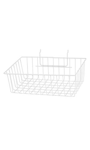 White Mini Wire Grid Basket for Slatwall or Pegboard - 12''L x 8''W x 4