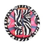 Zebra Print Steering Wheel Cover and Shoulder Belt Pads