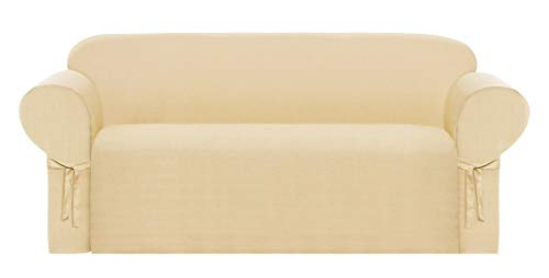 Chezmoi Collection Solid Heavy-Duty Jacquard Fabric Couch/Sofa Cover Slipcover, Neutral Wheat
