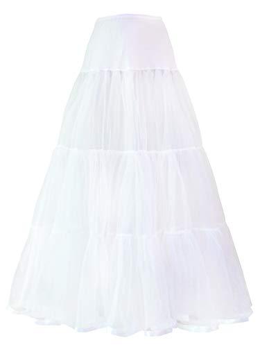 Vanrose Jan Lightweight Ankle Length Bridal Wedding Long Dress Slips (S/M, White)