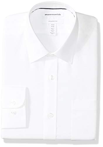 Amazon Essentials Men's Slim-Fit Wrinkle-Resistant Long-Sleeve Dress Shirt, White, 17.5