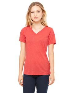 Womens Red Heather V-neck Tee - Bella 6405 Womens Relaxed Jersey Short Sleeve V-Neck Tee - Red Triblend, 2XL
