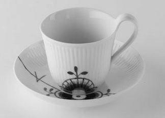 Royal Copenhagen Black Fluted Mega High Handled Cup Saucer ()