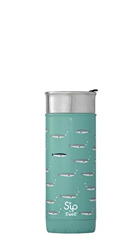 S'ip by S'well 20316-B18-07740 Stainless Steel Travel Mug, 16oz, School of Fish