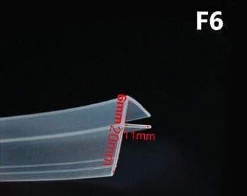 ZHGHS 2 Metros/Lote ampliado F/H Forma Forma de Goma de Silicona Ducha de Ducha Puerta de Vidrio Sello de Vidrio Tira de burlete para 6/8/10/12 mm de Vidrio Mantener Caliente (Color : F6mm x 2Meters)