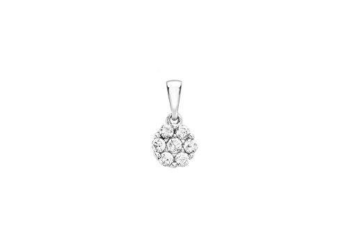 9ct or blanc 0,20ct Diamant Pendentif Grappe