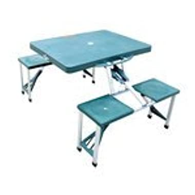 Outsunny Portable Folding Outdoor Camp Suitcase Picnic Table with 4 Seats, Green