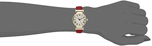 Anne Klein Women's AK/2246CRRD Gold-Tone and Red Leather Strap Watch