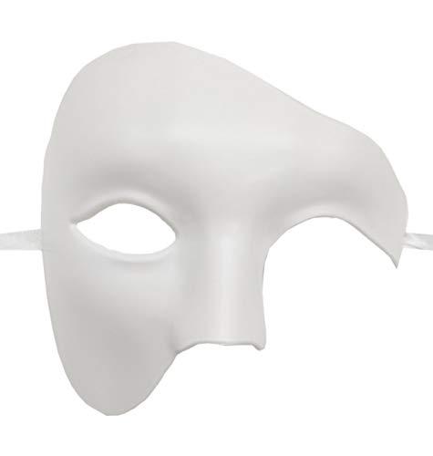 Men Masquerade Mask Vintage Design Roman Phantom of The Opera Mask Party(White)