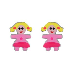 1001 Bijoux - Boucles d'oreille tige argent rhodié petite fille rose