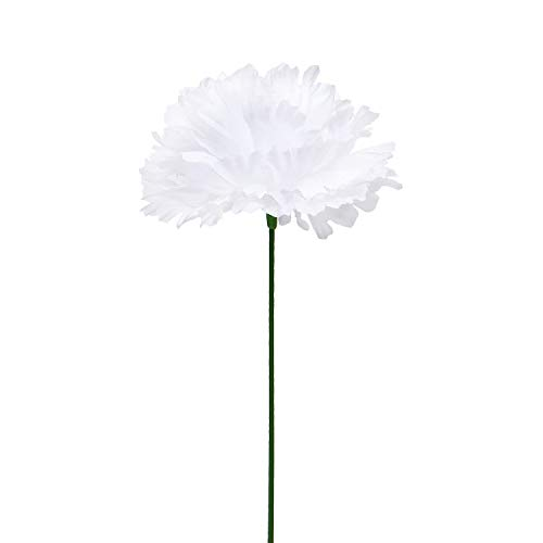 Mother's Day Gifts Crafts (Silk Carnation Flowers, 100 Pcs Aritificial Flowers Carnation Heads with Stems, Artificial Blooming Carnation Bouquet for DIY Craft Wedding Arrangements Centerpieces Floral Gifts for Mother's)
