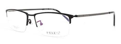 Heles Unisex Fashionable 100% Pure Tianium Half Rim Optical Frame Eyeglasses Black 5517145