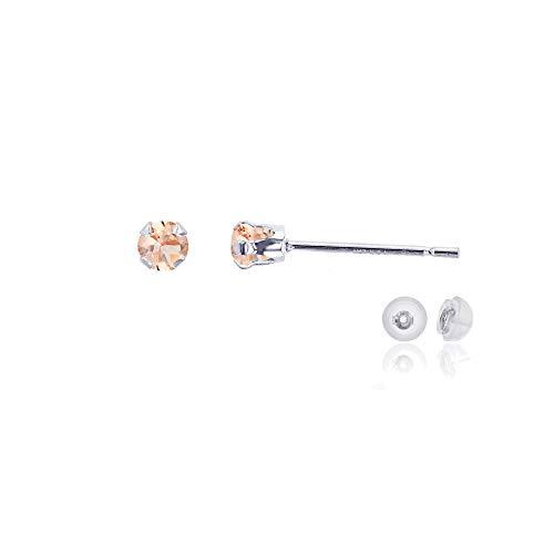 Genuine 10K Solid White Gold 3mm Round Natural Peach Morganite Birthstone Stud Earrings (Morganite Ring Gold White)