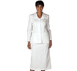 White Twill Double Collar Cross Skirt Suit by Peaches Uniforms. Great for Nurses, - Sku:Peaches1235WWHIT26W; Color:WHITE; Size:26W 26W by Peaches