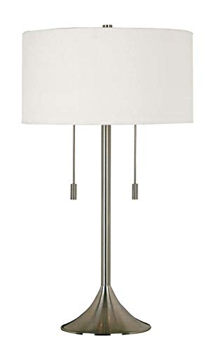 Kenroy Home 21404BS Stowe Table Lamp in Brushed Steel Finish with A White Textured Drum Shade, 17