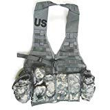 New US Army Military Tactical ACU Digital Camouflage FLC LBV Molle II FIGHTING LOAD CARRIER VEST + 9 POUCHES (3 Double Mag, 2 Triple, 2 Canteen, 2 Hand Grenade) Rifleman Set Ammo Ammunition GI USGI