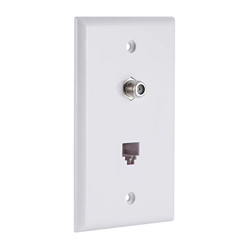 GE Wall Plate, 1 Coaxial Cable Jack, 1 Telephone Line Cord Jack, 2 Line, Wall Jack, Audio/Video/Phone Connector, White, 40093 (Phone Coax Plate Wall)