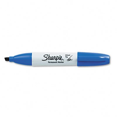 Sharpie Permanent Markers, Broad, Chisel Tip, 12-Pack, Blue (Sharpie Permanent Marker Blue Ink)