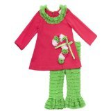 Rare Editions Fuchsia and Lime Candy Cane Legging Set (9 months) (Candy Cane Outfit)