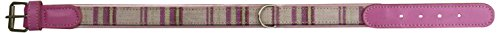 Petego La Cinopelca Cheri' Italian Leather Collar in Pink and Tartan Fabric, Medium, 17 Inches