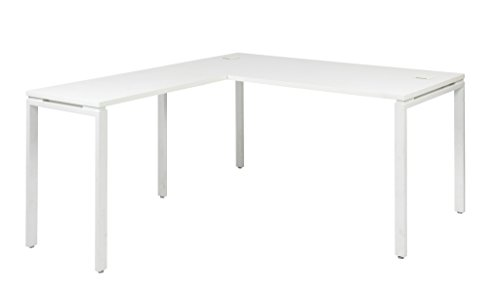 Office Star Prado Complete L-Shaped Desk With Laminate Top and Metal Legs, - Designer White Laminate