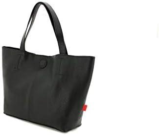 SHD Elegante Damenhandtasche aus Glattleder mit Henkel, schwarz