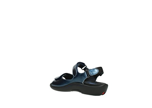 Wolky Black 1300 Patent Denim Womens Leather Sandals Salvia Metallic 882 1q7r1